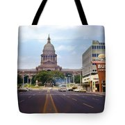 Vintage July 1968 View Looking Up Congress Avenue To The Texas State Capitol Tote Bag