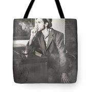 Vintage Man In Hat Smoking Cigarette In Jazz Club Tote Bag