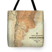 Vintage Map Of Argentina - 1882 Tote Bag