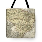 Vintage Map Of Brazil - 1889 Tote Bag