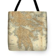 Vintage Map Of Greece - 1894 Tote Bag