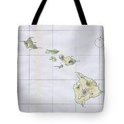 Vintage Map Of Hawaii  Tote Bag