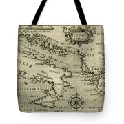 Vintage Map Of Italy And Greece - 1587 Tote Bag