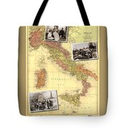 Vintage Map Of Italy Genealogy Map Tote Bag