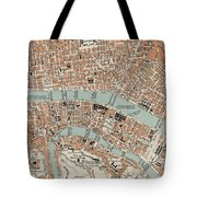 Vintage Map Of Lyon France - 1888 Tote Bag