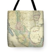 Vintage Map Of Mexico - 1847 Tote Bag