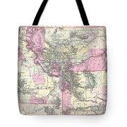 Vintage Map Of Montana, Wyoming And Idaho  Tote Bag