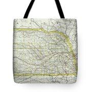 Vintage Map Of Nebraska - 1889 Tote Bag