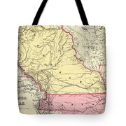Vintage Map Of Nebraska And Kansas - 1856 Tote Bag