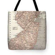 Vintage Map Of New Jersey - 1845 Tote Bag