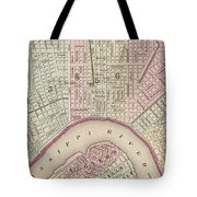 Vintage Map Of New Orleans - 1880 Tote Bag