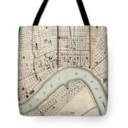 Vintage Map Of New Orleans Louisiana - 1845 Tote Bag