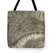 Vintage Map Of New York City - 1842 Tote Bag