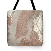 Vintage Map Of New York City - 1845 Tote Bag