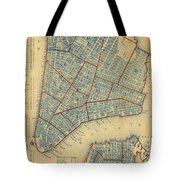 Vintage Map Of New York City - 1846 Tote Bag