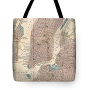 Vintage Map Of New York City - 1867 Tote Bag