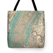 Vintage Map Of New York City - 1890 Tote Bag