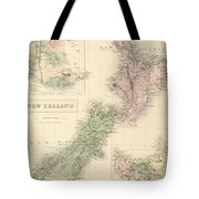 Vintage Map Of New Zealand - 1854 Tote Bag