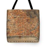 Vintage Map Of Nice France - 1914 Tote Bag