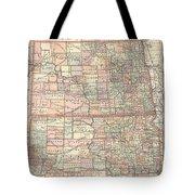 Vintage Map Of North And South Dakota - 1891 Tote Bag