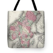Vintage Map Of Norway And Sweden - 1865 Tote Bag