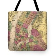 Vintage Map Of Nyc And Brooklyn - 1868 Tote Bag
