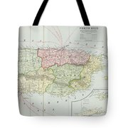 Vintage Map Of Puerto Rico - 1901 Tote Bag
