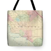 Vintage Map Of Southern California - 1874 Tote Bag
