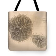 Vintage Map Of Tahiti - 1845 Tote Bag