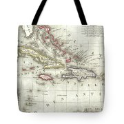 Vintage Map Of The Caribbean - 1852 Tote Bag
