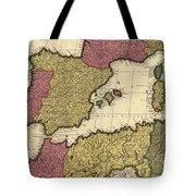 Vintage Map Of The Mediterranean - 1695 Tote Bag