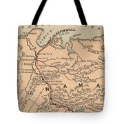Vintage Map Of The Panama Canal - 1885 Tote Bag