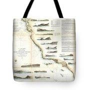 Vintage Map Of The U.s. West Coast - 1853 Tote Bag