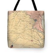Vintage Map Of The Virginia Battlefields - 1861 Tote Bag