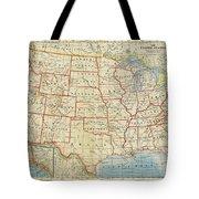 Vintage Map Of United States, 1883 Tote Bag