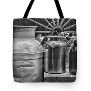 Vintage Milk In Black And White Tote Bag
