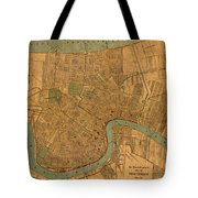 Vintage New Orleans Louisiana Street Map 1919 Retro Cartography Print On Worn Canvas Tote Bag