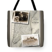 Vintage New York Map With Ellis Island Tote Bag