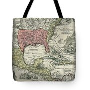 Vintage North America And Caribbean Map - 1720 Tote Bag