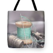 Vintage Notions Over Wood Background Tote Bag