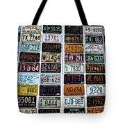 Vintage Number Plates Tote Bag