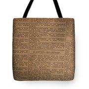 Vintage Old Classified Newspaper Ads Tote Bag