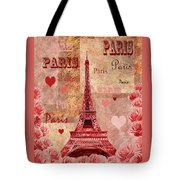 Vintage Paris And Roses Tote Bag