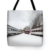 Vintage Passenger Train Cars In Winter Tote Bag