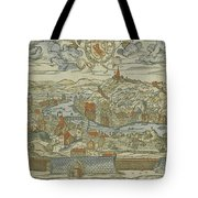 Vintage Pictorial Map Of Lyon France - 1555 Tote Bag