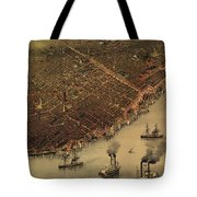 Vintage Pictorial Map Of New Orleans - 1885 Tote Bag