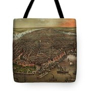 Vintage Pictorial Map Of New York City - 1873 Tote Bag