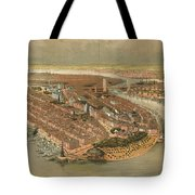 Vintage Pictorial Map Of New York City - 1874 Tote Bag