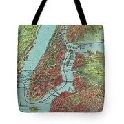 Vintage Pictorial Map Of Of New York City - 1909 Tote Bag