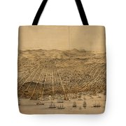Vintage Pictorial Map Of San Francisco - 1868 Tote Bag